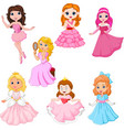 set cute cartoon princesses isolated vector image vector image