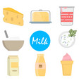 set milk icons in flat style on a white background vector image vector image