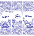 set of banners with fish and shells vector image vector image