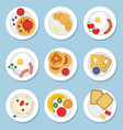 set of healthy food for breakfast vector image