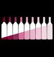 set wine bottles on a black background vector image vector image