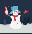 snowman in forest vector image