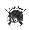 soldier text soldier helmet gun background vector image vector image