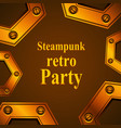 steampunk retro party invitation card vector image