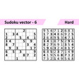 sudoku game with answers simple design set vector image vector image