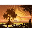 Sunset tropical island1 vector image vector image