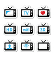 TV set 3d HD icons set vector image vector image
