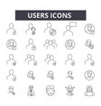 users line icons signs set linear vector image