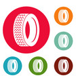vehicle tire icons circle set vector image