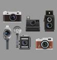 vintage cameras electronic gadgets retro photo vector image vector image