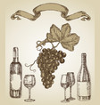 wine set hand drawn a bottle of wine a glass and vector image vector image