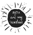 You are my sunshine Romantic quote vector image vector image