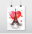 Beautiful hand-draw poster Paris and watercolor vector image