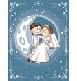 Bride and Groom Sitting on the Moon Cartoon vector image