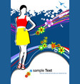 young woman in red-yellow dress on summer vector image