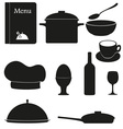 set kitchen icons for restaurant cooking black vector image