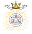 alchemy symbol with royal crown sacred geometry vector image