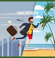 businessman travels from winter to summer from a vector image vector image