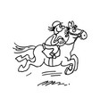 cartoon horse ride outlined cartoon handrawn vector image