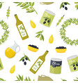 cartoon olive oil elements seamless pattern vector image
