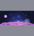 cartoon space banner with purple planet surface vector image