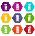 castle tower icons set 9 vector image vector image