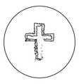 cross black icon outline in circle image vector image
