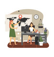 delivery call center operator in office hotline vector image