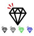 diamond crystal flat icon vector image vector image
