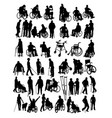 disabled people activity silhouettes vector image