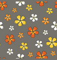 ditsy warm flowers colorful on a gray background vector image vector image