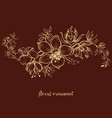 floral ornament over dark background vector image vector image