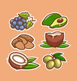 food icons stickers set natural product vector image