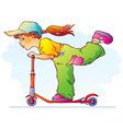 Girl riding scooter vector image vector image