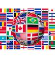 Globe on a background with flags of the world vector image vector image