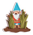 gnome coming out of the bushes in watercolor vector image vector image