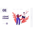 good friends and friendship website landing page vector image vector image