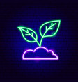 ground plant neon sign vector image vector image
