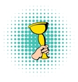 Hand holding winner trophy cup icon comics style vector image vector image