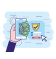 hand with smartphone and bills with security vector image