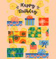 happy birthday with cute gift vector image vector image