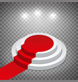 isometric white round podium with red carpet vector image vector image