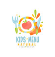 kids natural menu logo design healthy organic vector image vector image