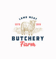 lamb meat farm retro badge or logo template hand vector image vector image