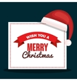merry christmas card with hat red design vector image vector image