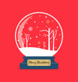 merry christmas glass ball winter season vector image vector image