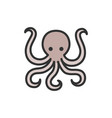 octopus flat color line icon isolated on vector image