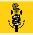 open mic night party show banner concept with vector image vector image