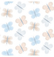 pattern with tender blue and orange butterflies vector image