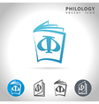 philology icon set vector image